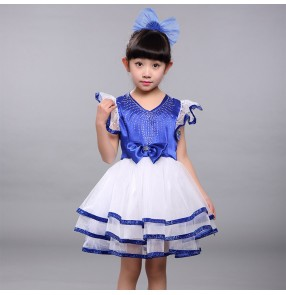 Kids girls boys royal blue jazz dance princess dress chorus dress costumes model show party stage performance dresses